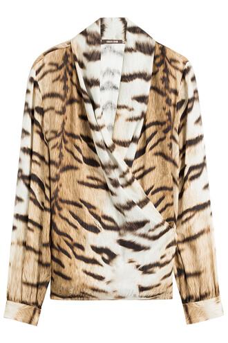 blouse silk animal top