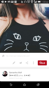 shirt,top,tank top,t-shirt,cats,black,white,black and white,meow,cute,cat shirt,crop tops,black crop top,cat clothing,cute top,tumblr shirt,brandy melville,crop,blank,chic