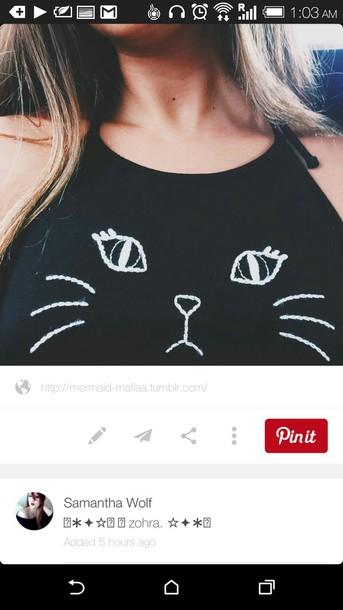shirt top tank top t-shirt cats black white black and white meow cute cat shirt crop tops black crop top cat clothing cute top tumblr shirt brandy melville crop cats blank cats chic