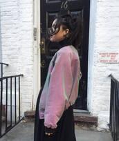 jacket,holographic,pink jacket,shiny