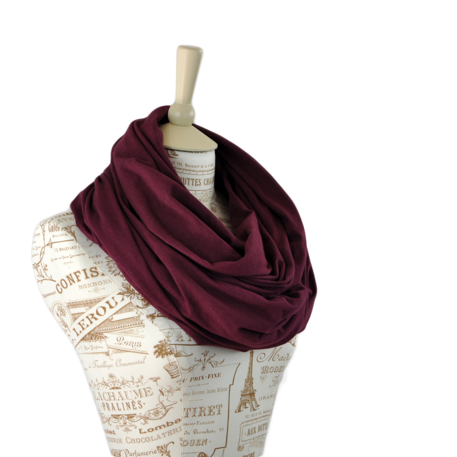 SALE Maroon Infinity Scarf, Jersey Wine Scarf, Mulberry Burgundy Scarf, Red Circle Scarf, Cotton Scarves Women Fashion Wide