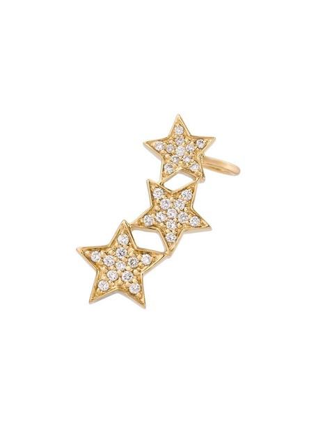 cuff women triple ear cuff gold yellow grey metallic jewels