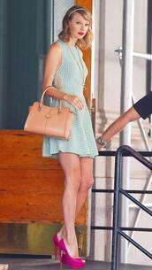 dress,shoes,necklace,bag,taylor swift,jewels,pumps,pink shoes,high heels,summer outfits,summer dress,preppy,preppy dress,reformation,louboutin