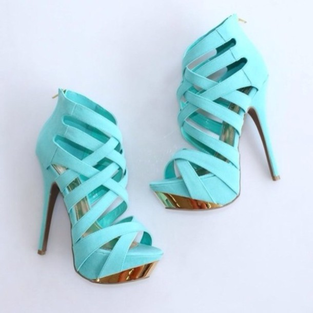 Shoes: high heels, aqua high heels, gold, blue, light blue, sky ...