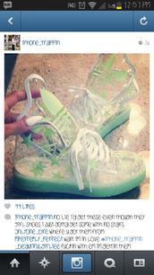 shoes,green,adidas jeremy scott,glow in the dark,stars,transparent