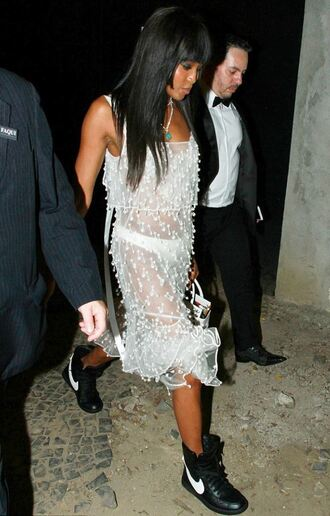 dress white white dress sneakers naomi campbell midi dress