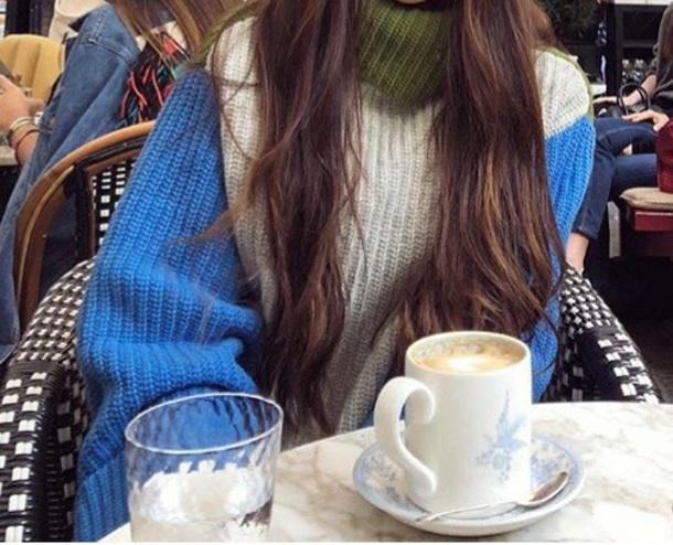 sweater wool multicolor turtleneck sweater turtleneck blue white