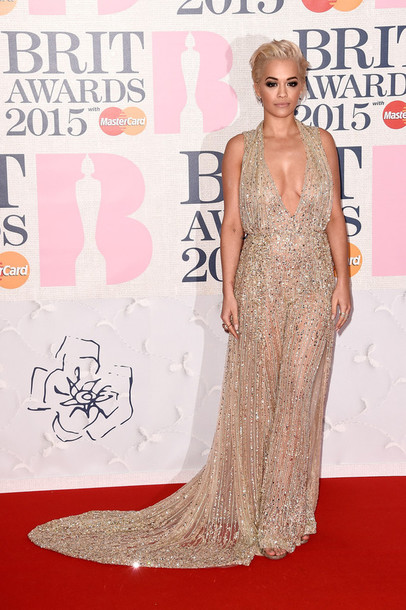dress brit awards 2015 gown rita ora red carpet dress sparkly dress