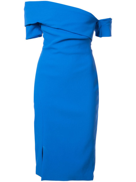 Haney dress slit dress women slit spandex blue wool