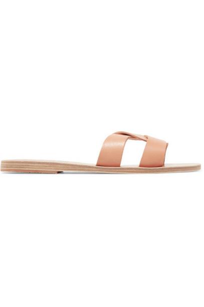 Ancient Greek Sandals - Desmos Cutout Leather Slides - Neutral
