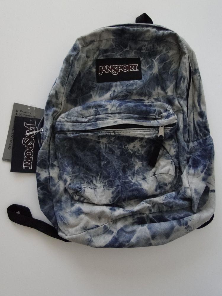 Jansport Backpack Denim Daze Acid Wash Jean Blue Gray ...