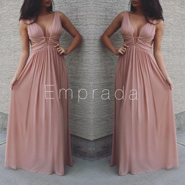 Dress Maxi Prom Long Dusty Pink Rose Baby