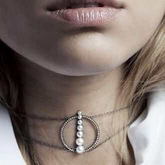 jewels pearl choker necklace silver diamonds designer geometric anissa kermiche