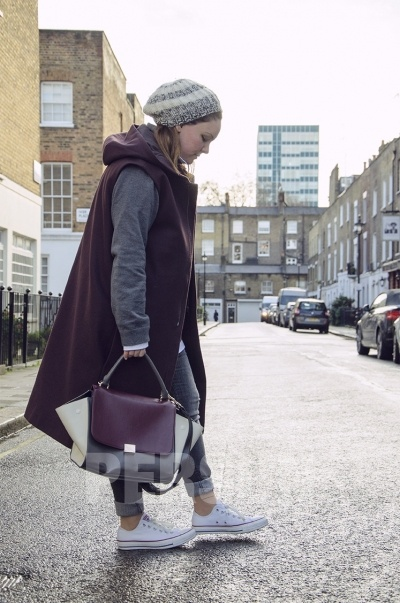 Color Block Bat Wings Handbag In Coffee [FPB635] - PersunMall.com