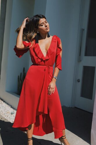 dress shoes jewels pam hetlinger the girl from panama blogger tumblr midi dress red dress cut-out wrap dress sandals high heel sandals sandal heels v neck ruffle ruffle dress