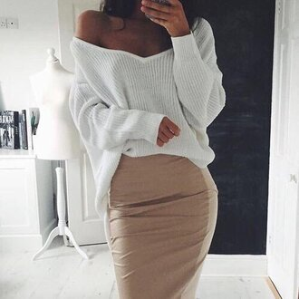 skirt beige skirt pencil skirt
