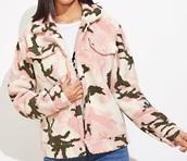 jacket,girly,girl,girly wishlist,teddy bear coat,teddy jacket,pink,camouflage