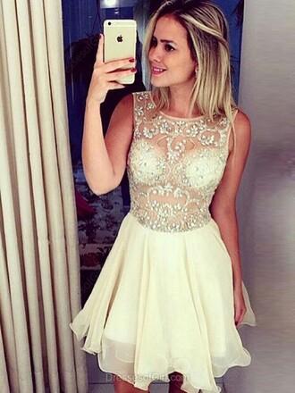 dress a-line scoop neck chiffon tulle skirt short mini beading prom dress、