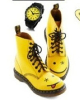 shoes smiley combat boots boots yellow yellow boots lace up lace up boots
