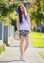 chloe ting,top,shorts,jewels,bag,shoes
