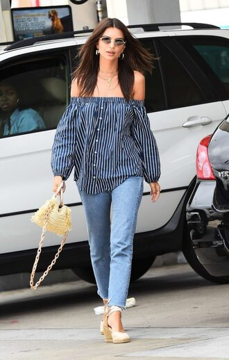 blouse off the shoulder off the shoulder top jeans denim stripes emily ratajkowski model off-duty streetwear