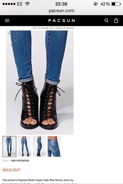 black heels high heels peep toe heels lace up boots shoes jeans