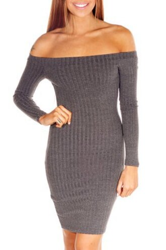 dress grey fashion trendy long sleeves knitwear brief off the shoulder long sleeve solid color dress for women off the shoulder fall outfits winter sweater clothes warm cozy