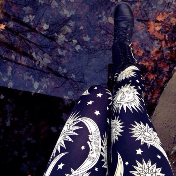 leggings black and white moon and sun