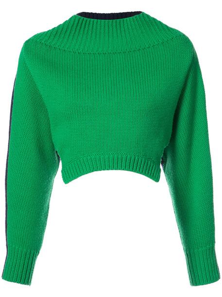 Monse sweater cropped sweater oversized cropped women wool green