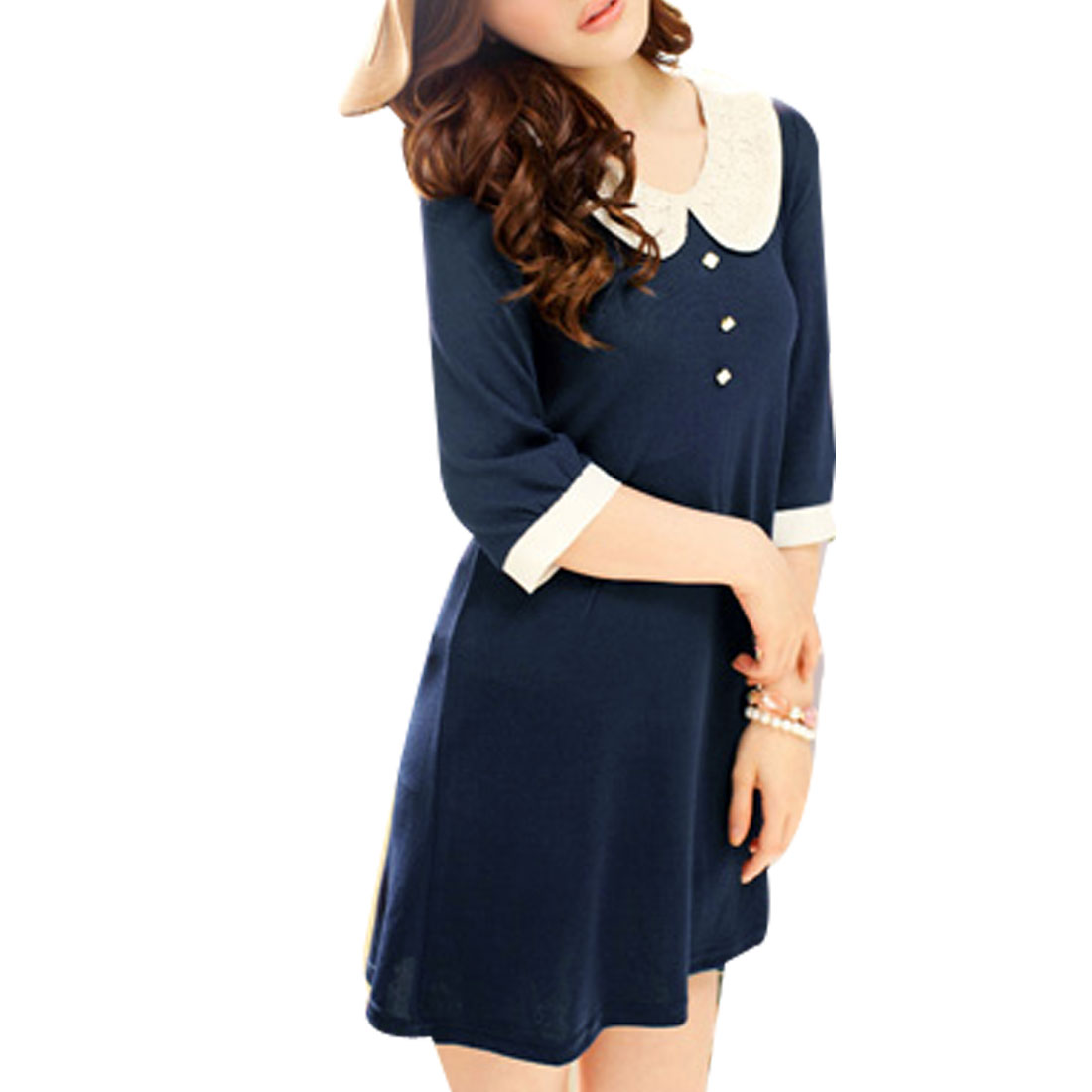 Ladies button decor front lace peter pan collar mini dress