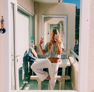 pants pajamas yoga pants tracksuit bottoms trackies white pants long pants flowy pants comfortable pants grey top t-shirt crop tops fitness fit comfortable comfortable sweatpants sweatpants