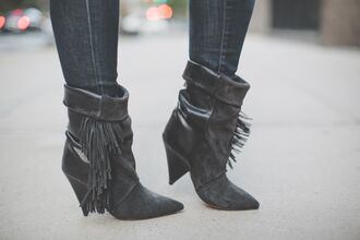 isabel marant boots h&m fringe shoes tassel boots pointed toe boot suede leather booties ankle boots fringe