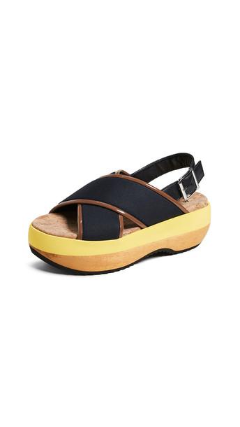 Marni Wedge Criss Cross Sandals in black