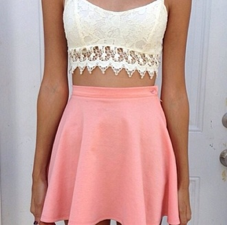 tank top lace lace crop top lace top fitted lace crop tops crochet crochet crop top crochet top top bralette lace bralette crochet bralette skirt dress shirt white pale fabric vintage t-shirt halter neck skirt pink pink skirt blouse flare pink skirt