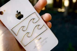 jewels studded iphone case iphone cover white beach dress iphone stickers waves gold