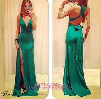 dress sexy dress одежда платье maxi dress green slit fashion emerald green prom dress evening dress bow backless dress green dress satin dress slit dress crossed back crossed back dress skirt cute dress formal dress party dress clothes classy elegant trendy women backless pretty new black emerald dress prom gown sexy formal dressofgirl formal event outfit
