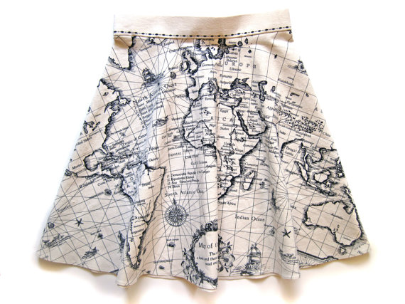 Map Of The World Circle Skirt By Bearandco On Etsy