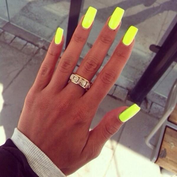 nail polish neon yellow nails summer outfits jewels ring