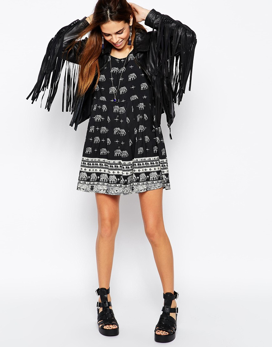 the sky button down dress in elephant print at asos com