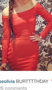 bodycon dress,off the shoulder dress,red dress,orange dress,midi dress,knee length dress,dress,off the shoulder,long sleeve dress