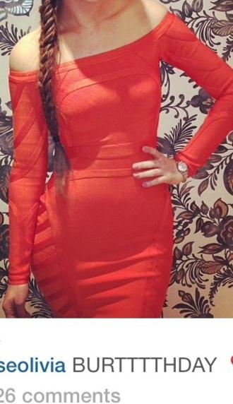 dress bodycon dress off the shoulder dress red dress orange dress midi dress knee length dress off the shoulder long sleeve dress