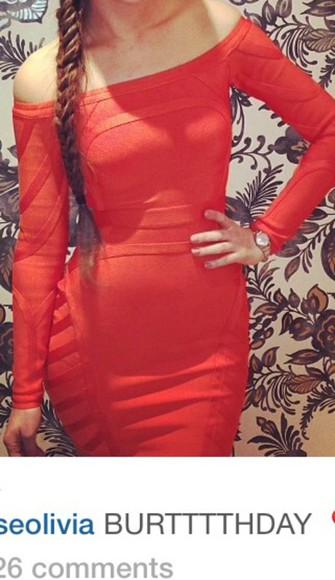 dress orange dress bodycon dress off the shoulder dress red dress midi dress knee length dress off the shoulder long sleeve dress