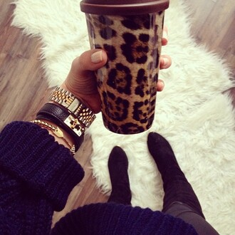 home accessory cup cups mug leopard print travel mug