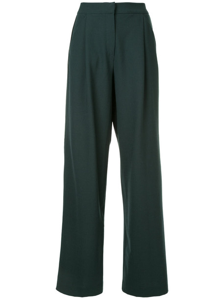 Dion Lee high women wool green pants