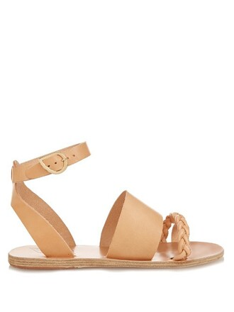 braided sandals leather sandals leather tan light shoes
