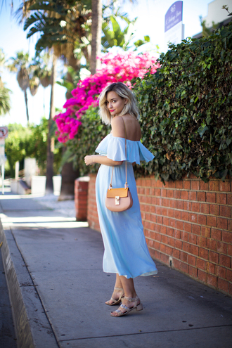 late afternoon blogger dress off the shoulder dress light blue shoulder bag sandals