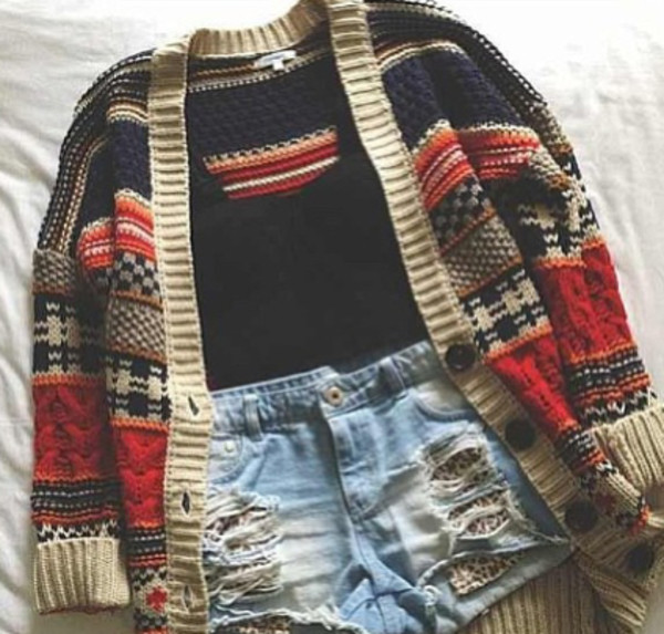 sweater crop tops stripes cardigan High waisted shorts