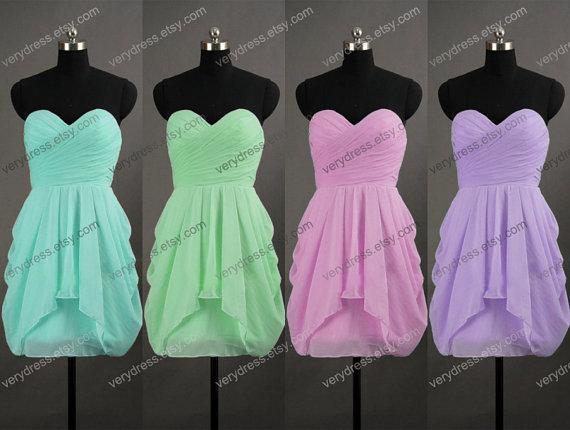 Sweetheart kneelength short mint bridesmaid dress by verydress