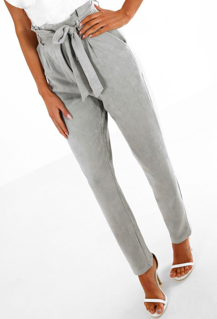 Ready For Business Grey Faux Suede High Waisted Trousers