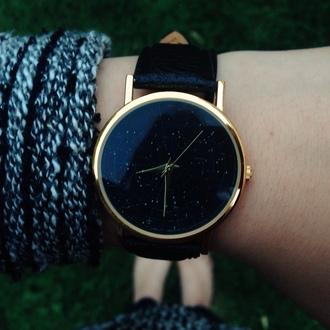 jewels watch constellation stars leather watches womens watches nail accessories nail polish college etsy constellations black gold cool black watch gold watch cute watch dress